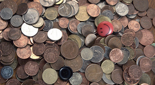 coins and happy face