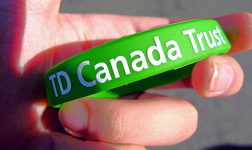TD Bank Canada Trust wrist band